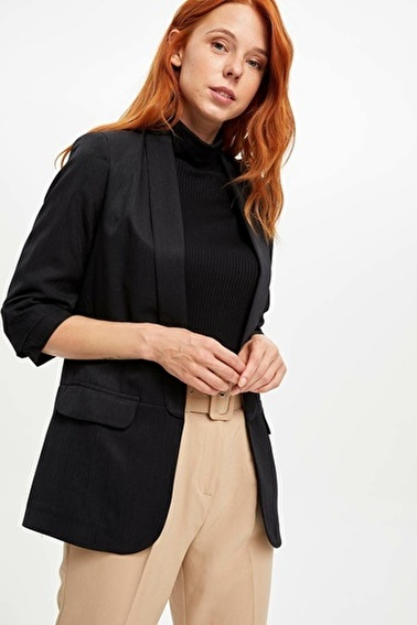 DeFacto Slim Fit Blazer Ceket Siyah